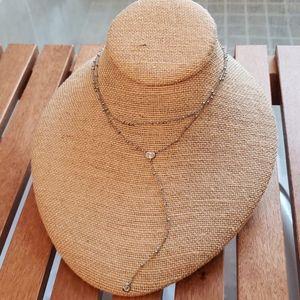 Crystal Drop 2-Row Y-Necklace, Silver